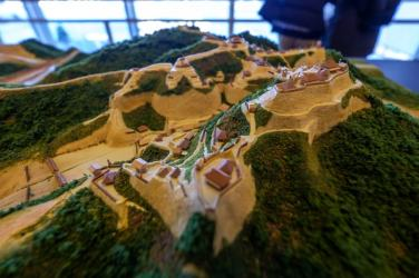 高天神城ジオラマ。中世山城ジオラマも数少ないながら展示されていたのは続100名城効果かな。